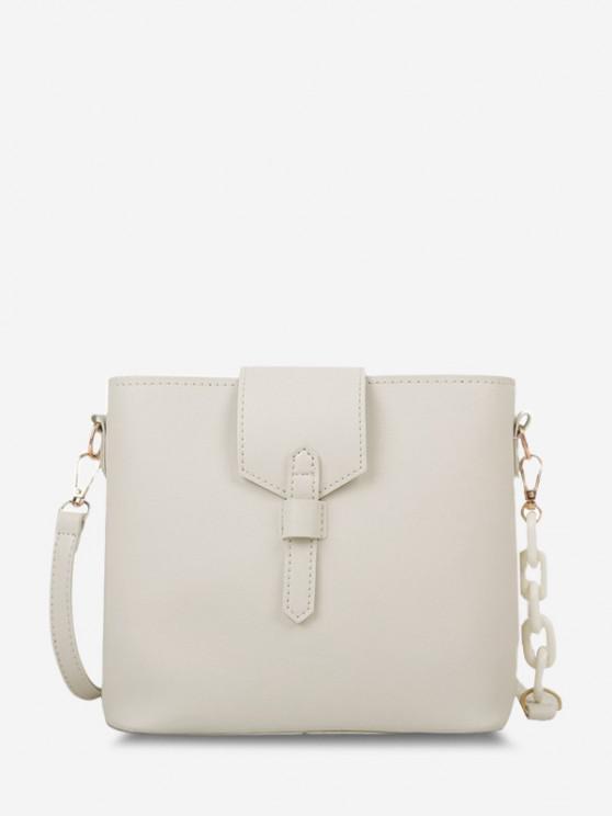 sale Brief Square Quarter Chain Crossbody Bag - WHITE