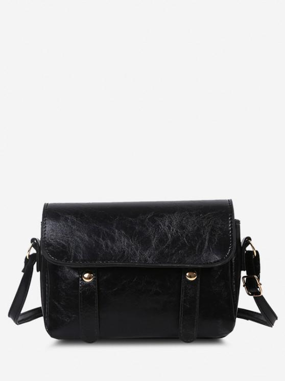buy Retro Crossbody Messenger Bag - BLACK