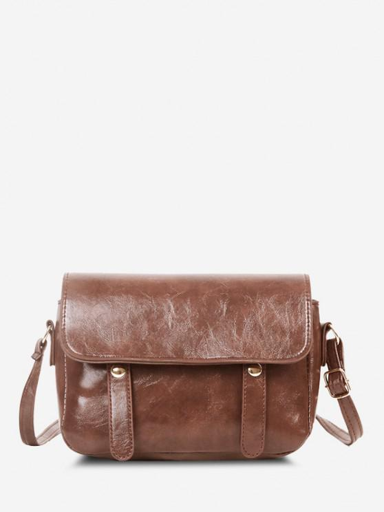 women Retro Crossbody Messenger Bag - DEEP BROWN