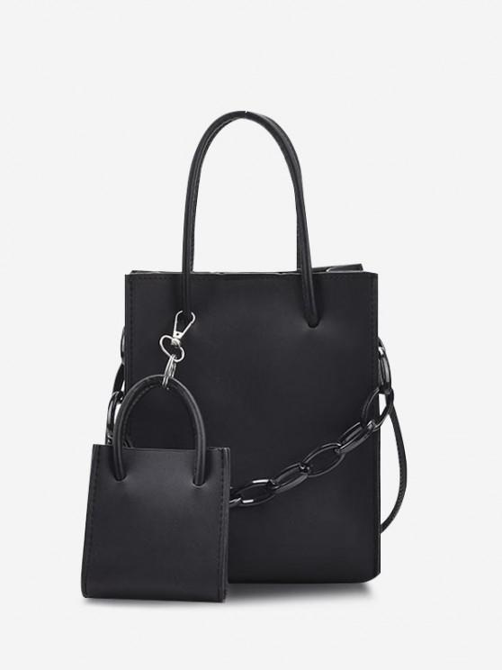 best 2Pcs Rectangle Chain Tote Bag Set - BLACK