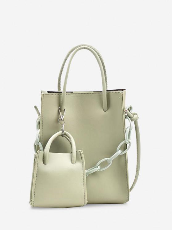 2Pcs Rectangle Chain Tote Bag Set - اخضر فاتح