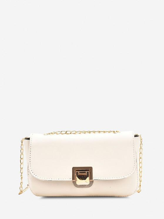 outfits Metal Hasp Cover Chain Crossbody Bag - WHITE