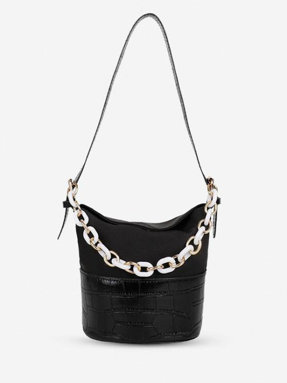 latest PU Retro Chain Solid Bucket Shoulder Bag - BLACK