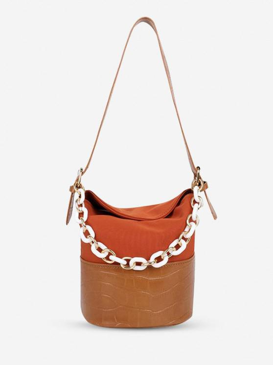 chic PU Retro Chain Solid Bucket Shoulder Bag - LIGHT BROWN