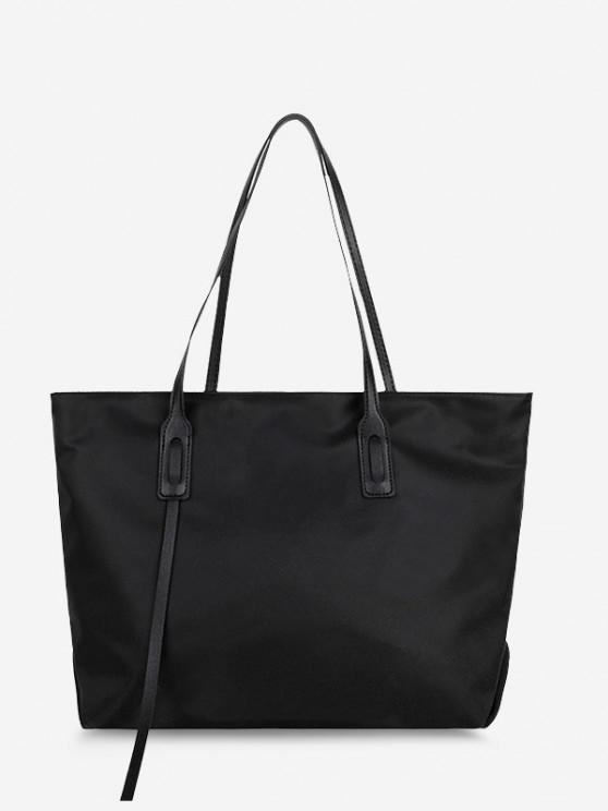 fancy PU Solid Tote Shoulder Bag - BLACK