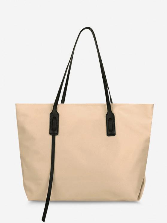 sale PU Solid Tote Shoulder Bag - LIGHT KHAKI
