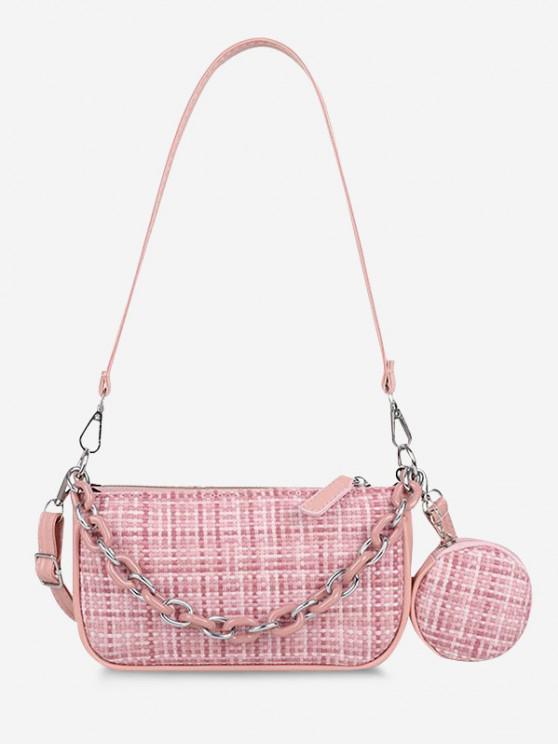 PU Zipper Check Chain Shoulder Bag - زهري