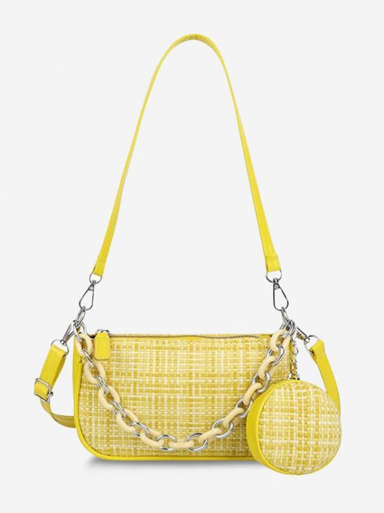 womens PU Zipper Check Chain Shoulder Bag - SUN YELLOW