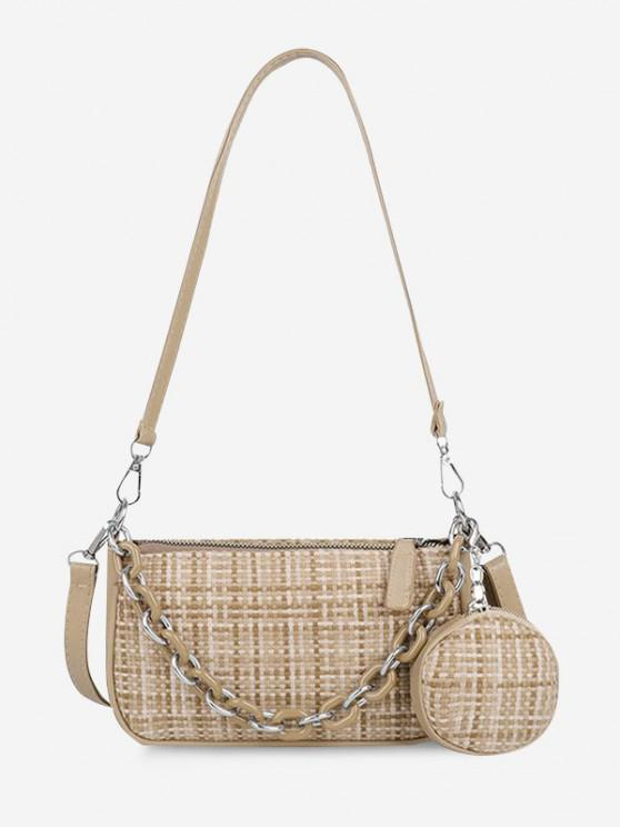 women's PU Zipper Check Chain Shoulder Bag - LIGHT KHAKI