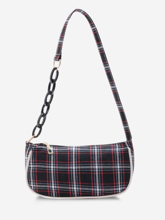 ladies Plaid Half Chain Shoulder Bag - BLACK