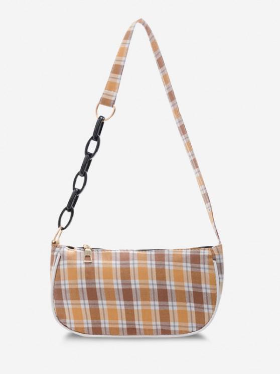 best Plaid Half Chain Shoulder Bag - YELLOW