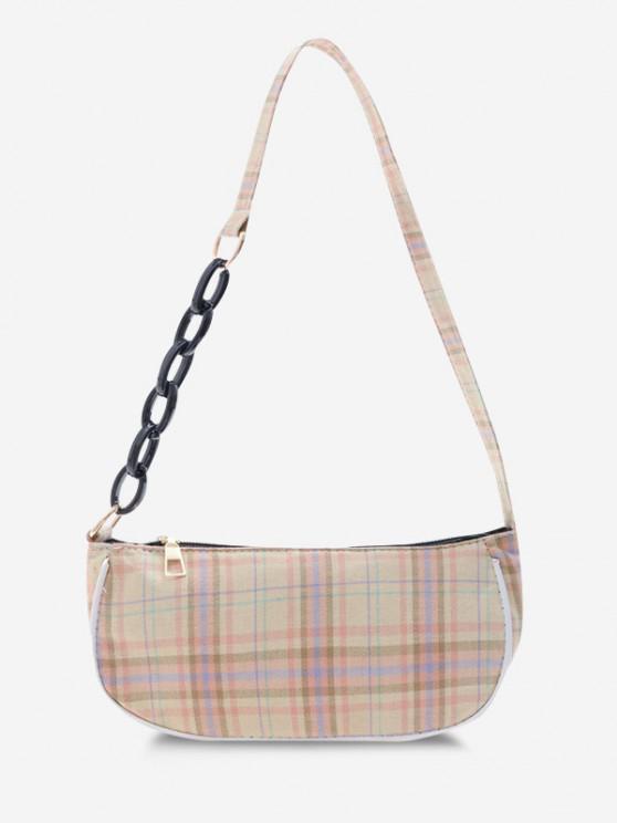 new Plaid Half Chain Shoulder Bag - LIGHT KHAKI