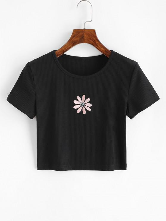 shops Ribbed Flower Embroidered Baby Tee - BLACK S