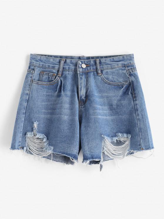 Ripped Frayed Hem Pocket Denim Shorts - أزرق M
