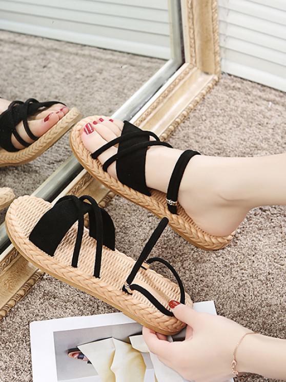 unique Criss Cross Strappy Slides Sandals - BLACK EU 39