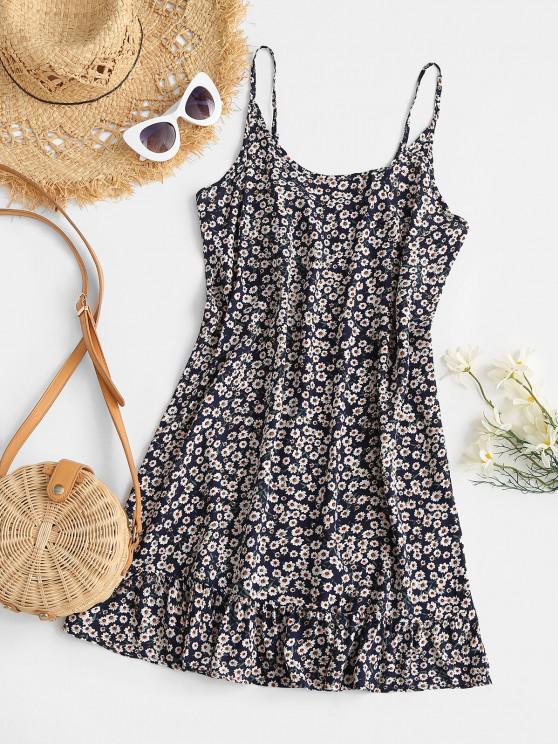 chic Floral Ruffle Hem Mini Dress - DEEP BLUE L