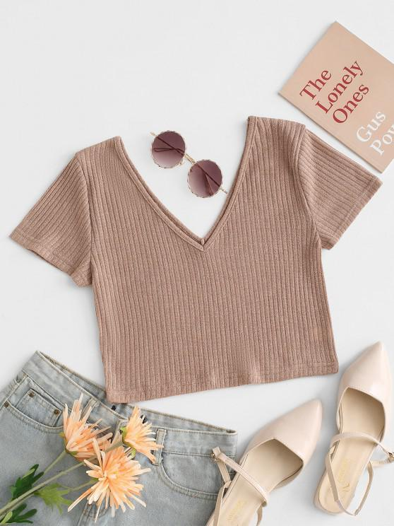 chic Rib Knit Plunging Crop T Shirt - LIGHT COFFEE L