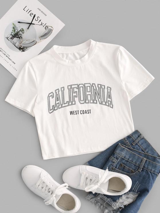 lady California Graphic Crop T Shirt - WHITE XS