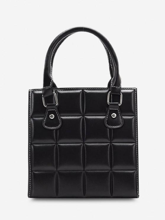 sale Retro Square Quilted Tote Bag - BLACK