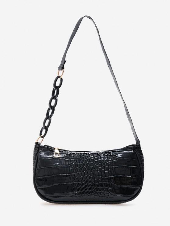 Bolsa de Ombro alças de corrente com couro falso - Preto