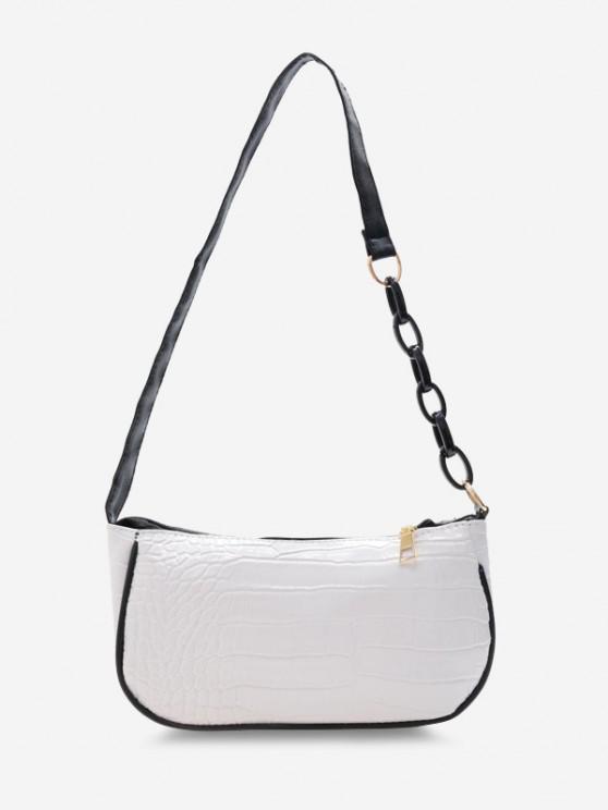 Half Chain Embossed Shoulder Bag - أبيض