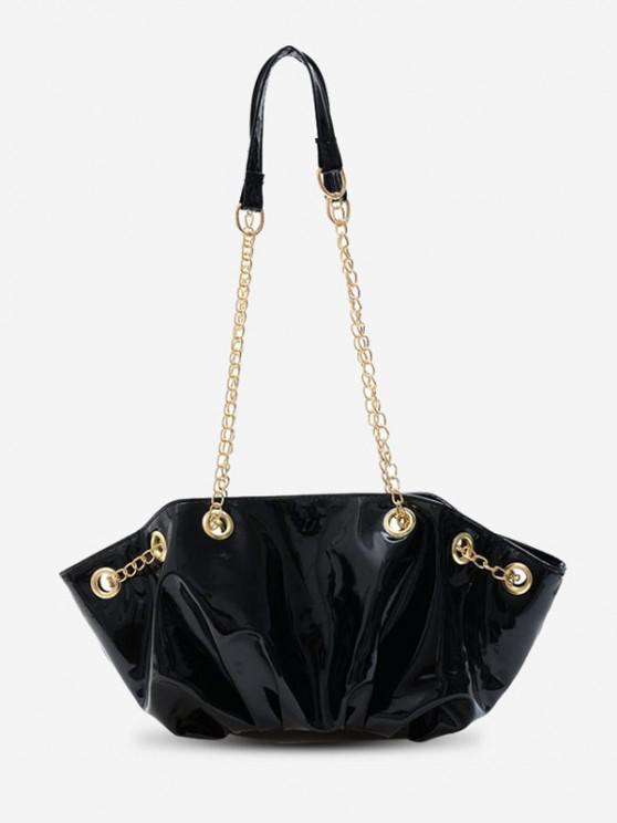 new Pleated Chain Shoulder Bag - BLACK