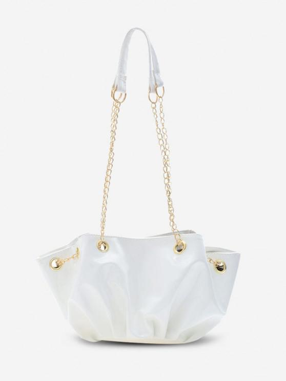 hot Pleated Chain Shoulder Bag - WHITE