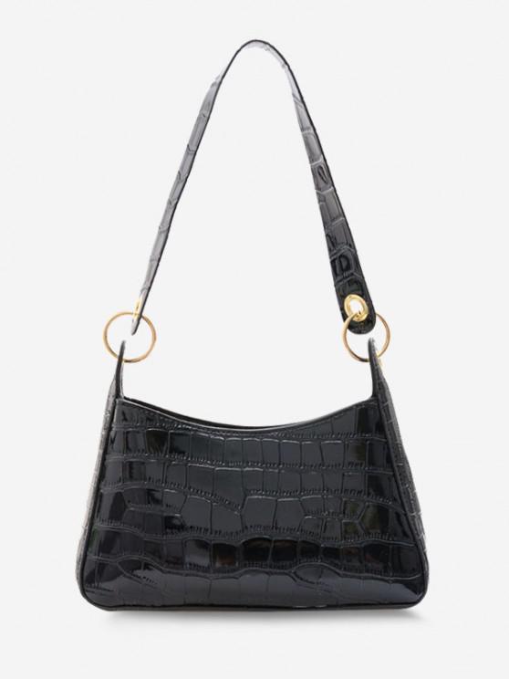 Textured O Rings Shoulder Bag - أسود