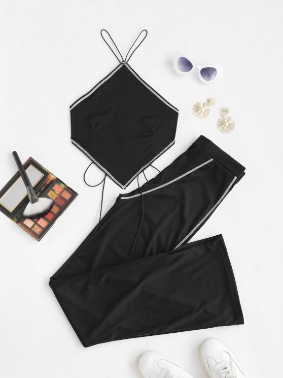 new Topstitching Bandana Tied Top and Flare Pants Set - BLACK L