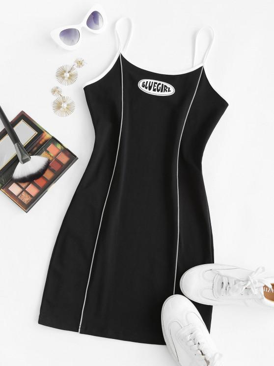 Reflektierende Bodycon Kleid mit Paspelierung - Schwarz M