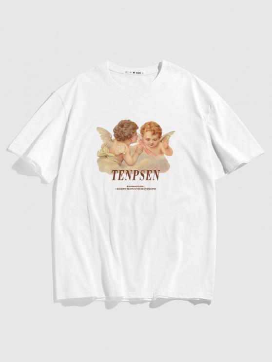 Letters Angel Print Renaissance Art T-shirt - أبيض L