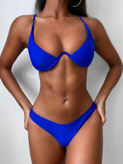 Push Up Plunge Bathing Suit - Blue M