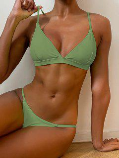 Ensemble De Bikini Plongeant à Bretelle Fine - Vert M