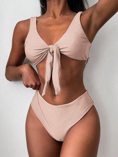 ZAFUL Tie Front Padded Bikini Set - Pink L