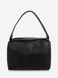 PU Retro Chain Solid Tote Bag - Black