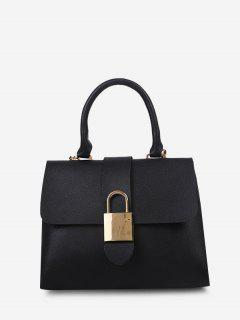 Lock Embellished Cover Handbag - Black