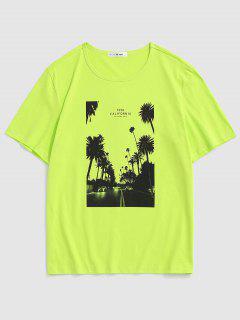 California Palm Tree Graphic T-shirt - Green 2xl
