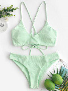 ZAFUL Criss Cross Textured Padded Bikini Swimsuit - Mint Green M