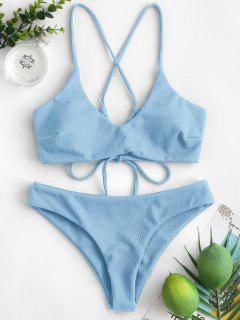 ZAFUL Criss Cross Textured Padded Bikini Swimsuit - Denim Blue M