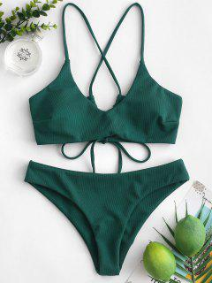 ZAFUL Criss Cross Textured Padded Bikini Swimsuit - Deep Green S