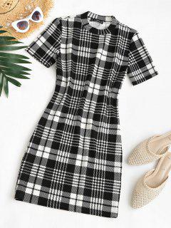Plaid Houndstooth Mini Bodycon Dress - Black M