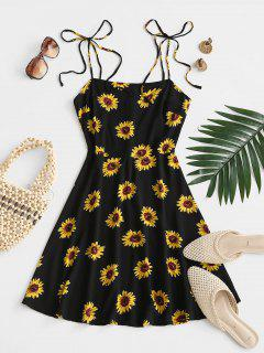 Flower Print Tie Shoulder Mini Dress - Black S