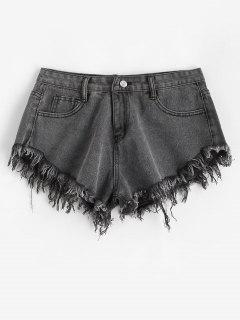 Frayed Hem Pocket Mini Denim Shorts - Dark Gray L