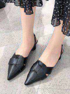Pointed Toe Cross Block Heel Sandals - Black Eu 40