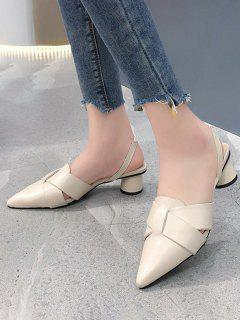 Pointed Toe Cross Block Heel Sandals - Warm White Eu 40