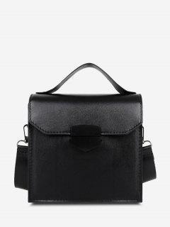 PU Retro Solid Crossbody Bag - Black