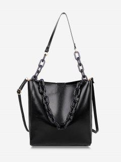 High Capacity Chain Bucket Crossbody Bag - Black