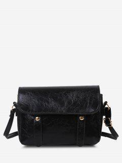 Retro Crossbody Messenger Bag - Black