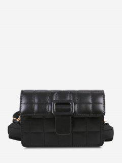 Buckle Rectangle Quilted Crossbody Bag - Black