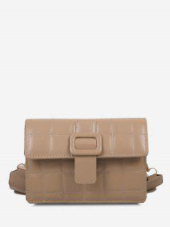 Buckle Rectangle Quilted Crossbody Bag - Light Khaki